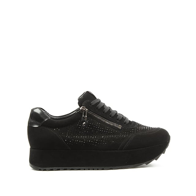 Slab Black Suede Diamante Platform Lace Up Trainer