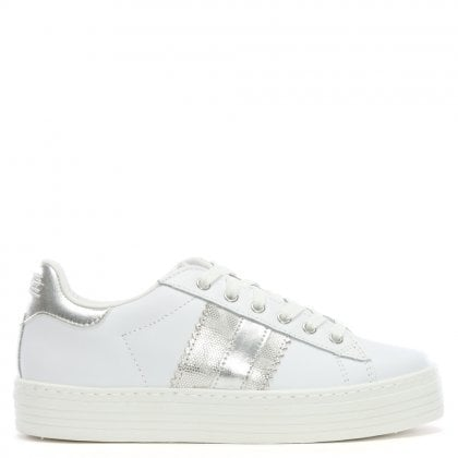 Slabsole White Leather Lace Up Trainers