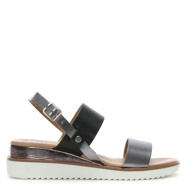 Slant Grey Leather Sling Back Sandals