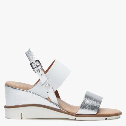 21263de27f1f Slant Silver Leather Sling Back Wedge Sandals. Sale