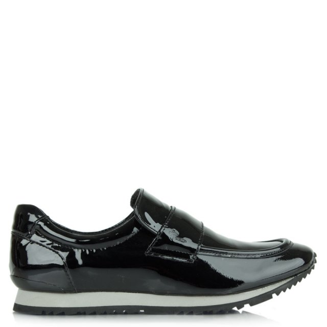 Sligo Black Patent Slip On Trainer