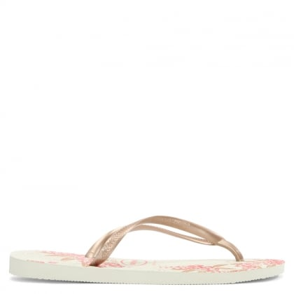 Slim Organic Gold Metallic Floral Toe Post Flip Flop