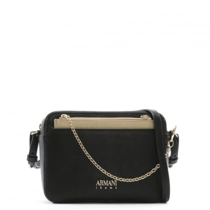 Sling Chain Black Eco Leather Cross-Body Bag