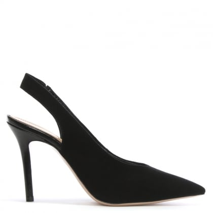 Slings Black Suede Sling Back Court Shoes