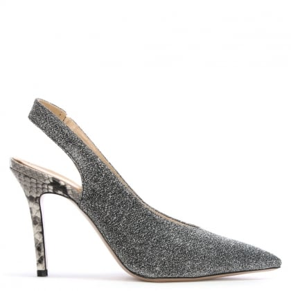 Slings Silver Sling Back Court Shoes