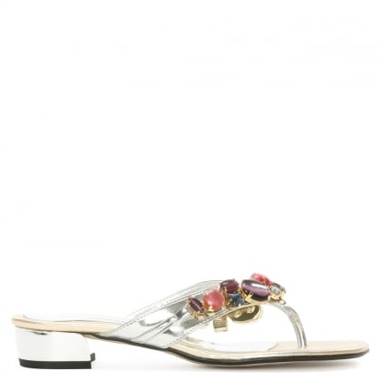 Sliver Metallic Jewelled Toe Post Sandal