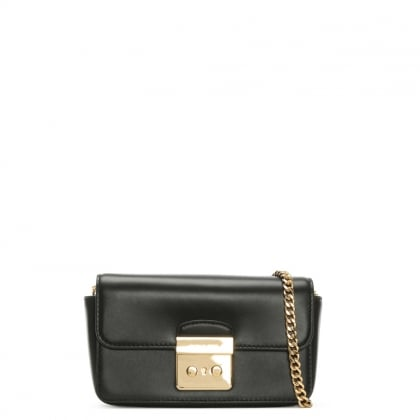 Sloan Black Leather Chain Strap Wallet