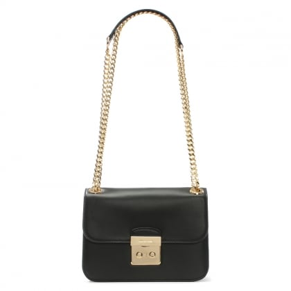 Sloan Editor Medium Black Leather Shoulder Bag