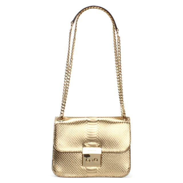 Sloan Editor Medium Gold Reptile Shoulder Bag