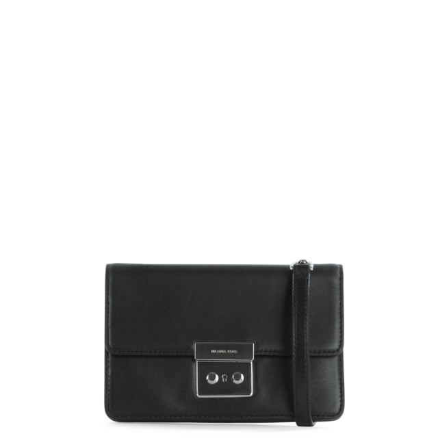Sloan Gusset Structured Black Leather Cross-Body Bag