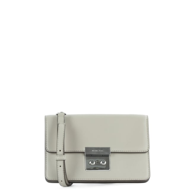Sloan Gusset Structured Cement Leather Cross-Body Bag