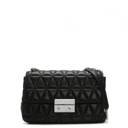 Sloan II Quilted Black Leather Chain Shoulder Bag