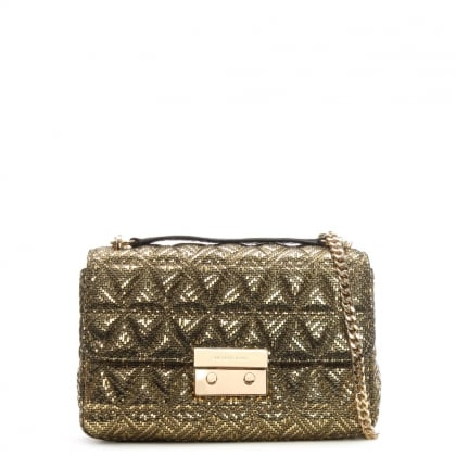 Sloan II Quilted Gold Leather Chain Shoulder Bag