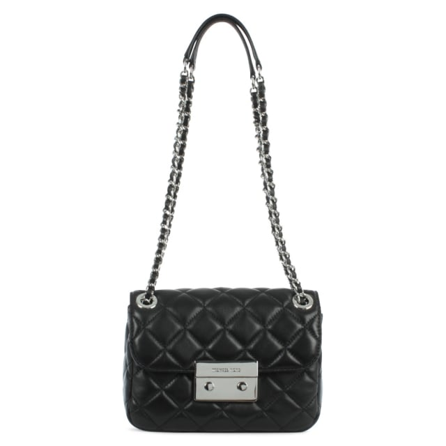 Sloan Quilted Small Black Leather Chain Shoulder Bag