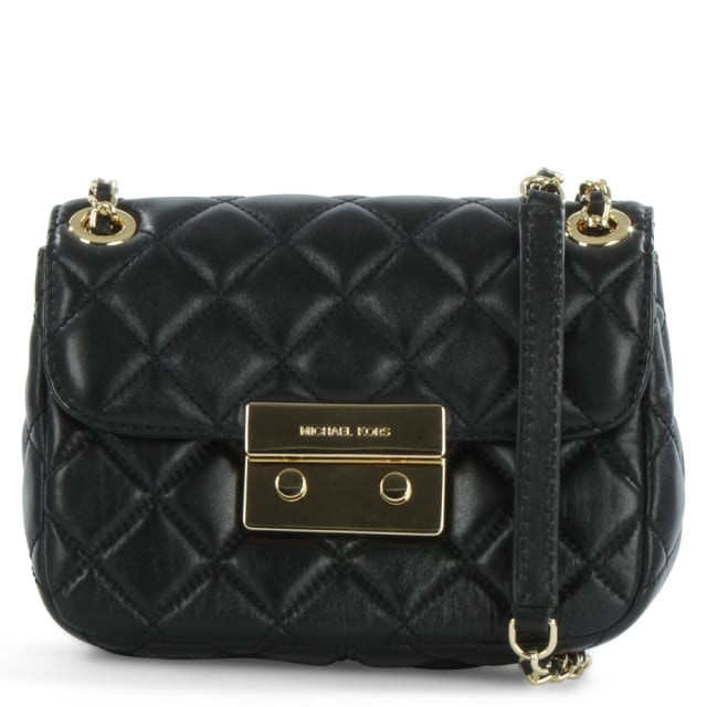 Michael Kors Sloan Small Black Leather Quilted Chain Shoulder Bag : leather quilted bag - Adamdwight.com
