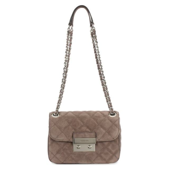 41d293050099 Michael Kors Sloan Small Cinder Suede Quilted Chain Shoulder Bag