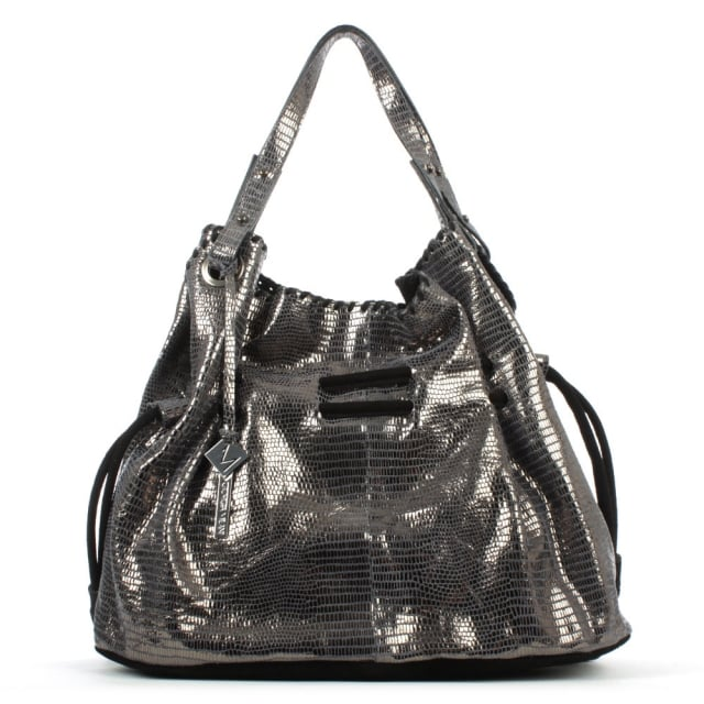 Slouchy Navy Metallic Stitched Shoulder Bag