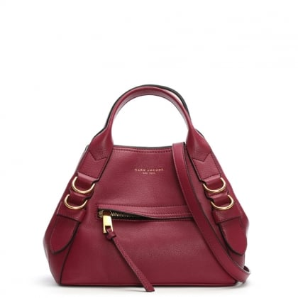 Small Anchor Berry Leather Tote Bag