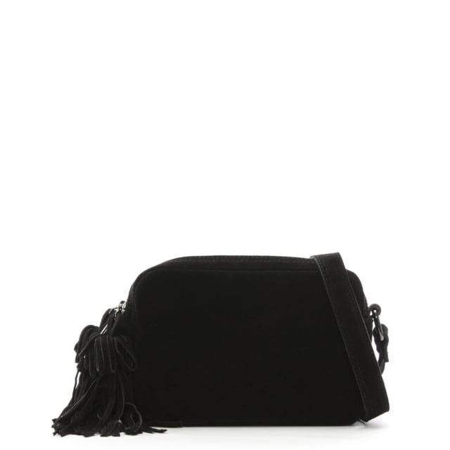 Small Black Suede Tassel Cross-Body Bag