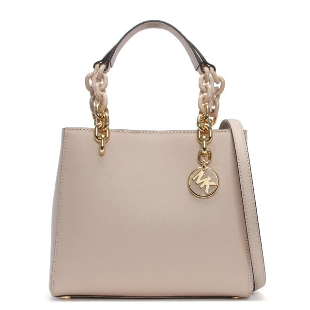 Small Cynthia North South Soft Pink Leather Satchel Bag