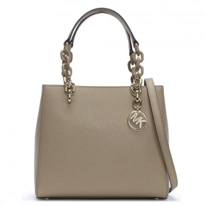 Small Cynthia North South Truffle Leather Satchel Bag