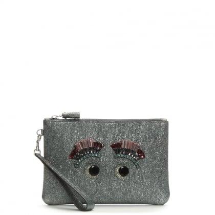 Small Eyes Diamante Pewter Metallic Wristlet Pouch