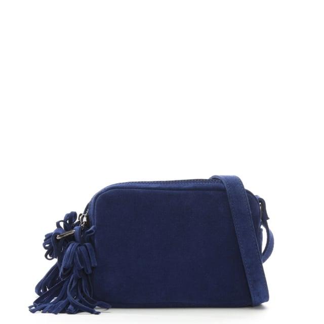 Small Navy Suede Tassel Cross-Body Bag