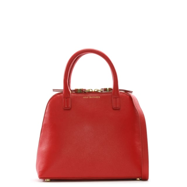 Small Red Grainy Leather Bobbi Cross-Body Bag