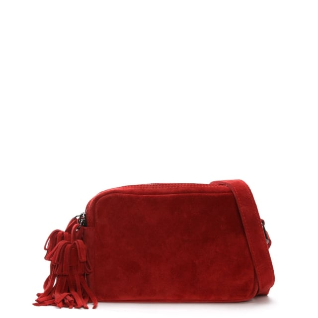 Small Red Suede Tassel Cross-Body Bag