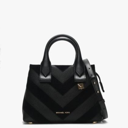 Small Rollins Black Leather   Suede Chevron Satchel Bag e958515bd