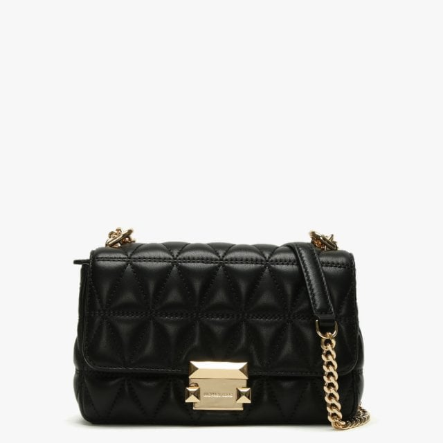 be449d431d3a Michael Kors Small Sloan II Black Quilted Leather Cross-Body Bag