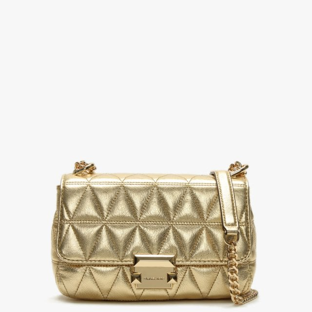 850cb155e0d Michael Kors Small Sloan II Old Gold Quilted Leather Cross-Body Bag