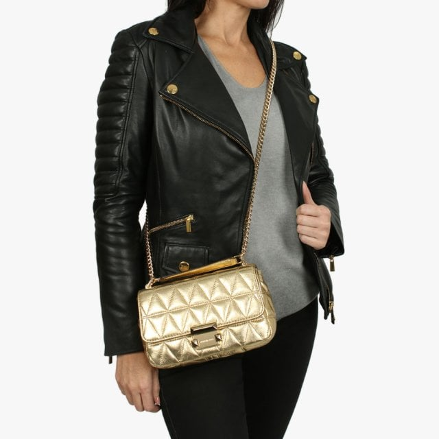 1d3092a51642 Michael Kors Small Sloan II Old Gold Quilted Leather Cross-Body Bag