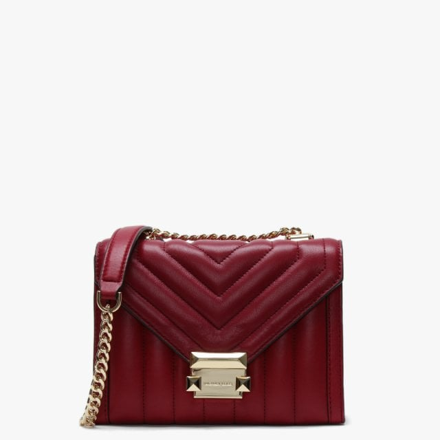 5df174d341 Michael Kors Small Whitney Quilted Maroon Leather Shoulder Bag