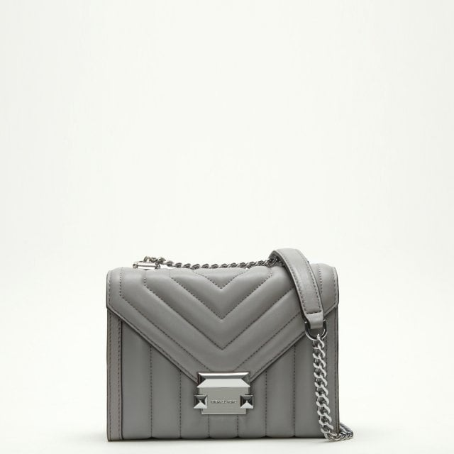 4c86ced5d174 Michael Kors Small Whitney Quilted Pearl Grey Leather Shoulder Bag