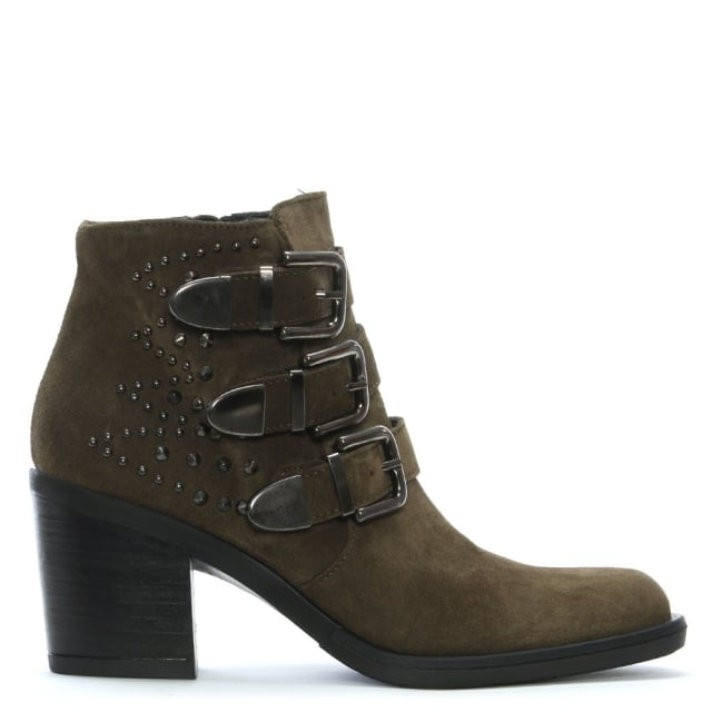 Kanna Smew Khaki Suede Buckled Ankle Boots