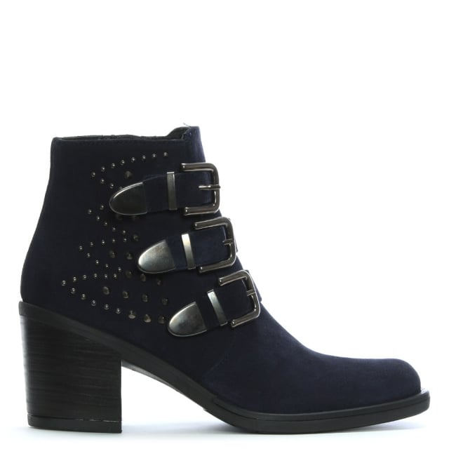Kanna Smew Navy Suede Buckled Ankle Boots