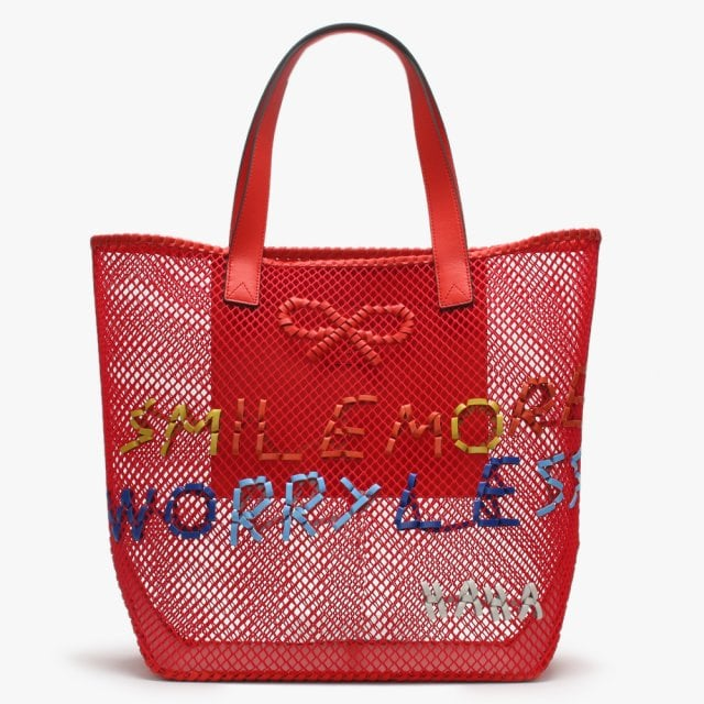 032bfdcbe3 Anya Hindmarch Smile More Woven Red Leather Tote Bag