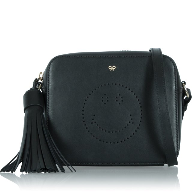 Smiley Black Leather Small Crossbody Bag