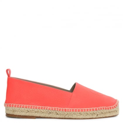 Smiley Neon Coral Leather Espadrille