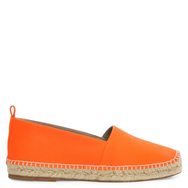 Smiley Neon Orange Leather Espadrille