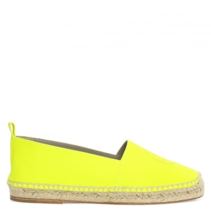Smiley Neon Yellow Leather Espadrille