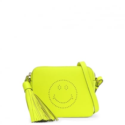 Smiley Neon Yellow Tumbled Leather Cross-Body Bag