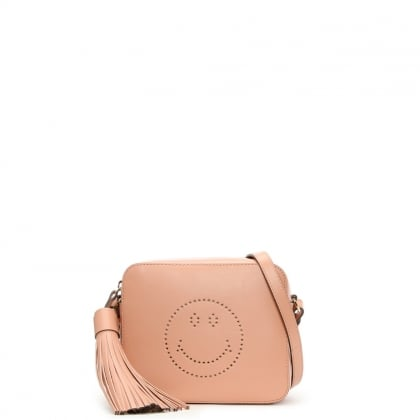 Smiley Pink Leather Small Cross-Body Bag