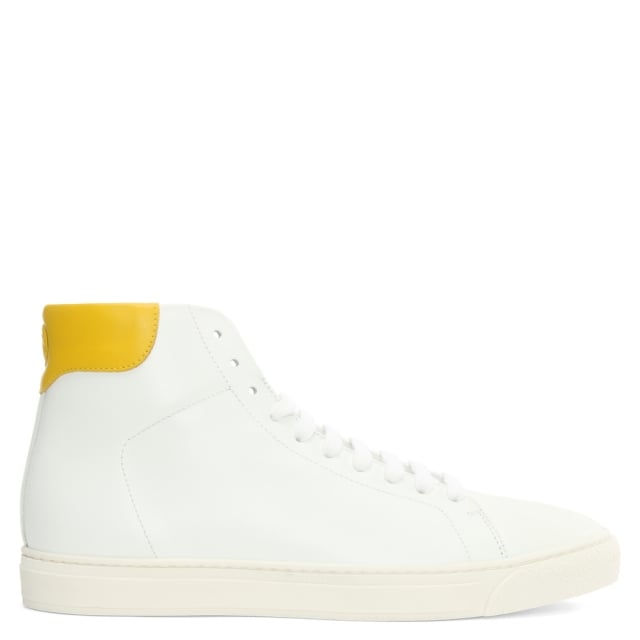 Smiley Wink White Leather High Top Trainer