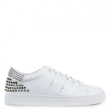 Smollett White Leather Studded Trainers