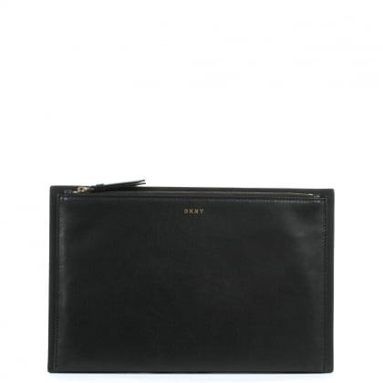 Smooth Black Leather Clutch Bag
