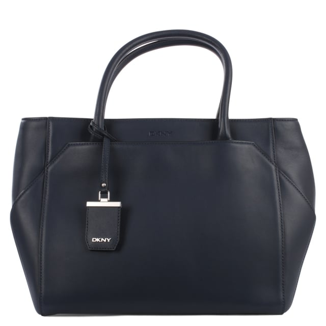 Smooth Dark Blue Leather Shopper Bag