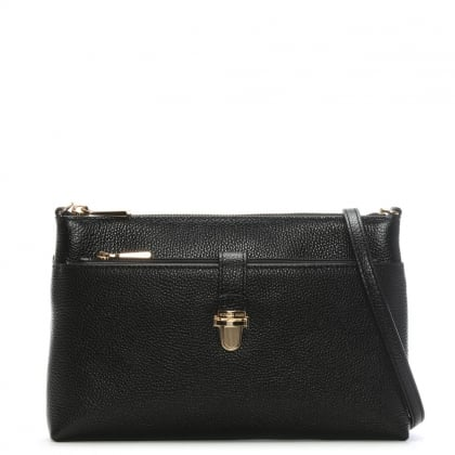 Snap Pocket Black Leather Cross-Body Bag