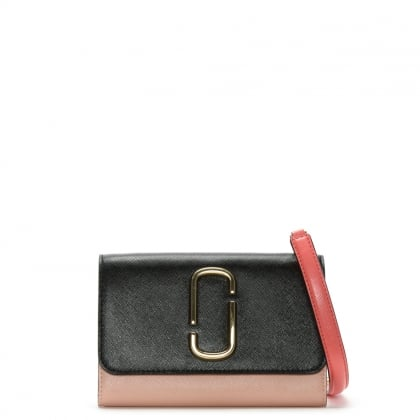 Snapshot Black & Rose Leather Chain Wallet
